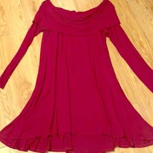 Exra Burgundy Off The Shoulder Tunic